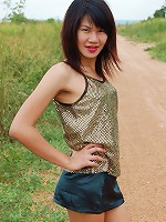 Hung ladyboy Gold exposing her lean body outdoors