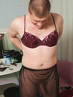 Transy dresses female clothes and cums